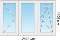 Пластиковая рама для остекления 3 секции
