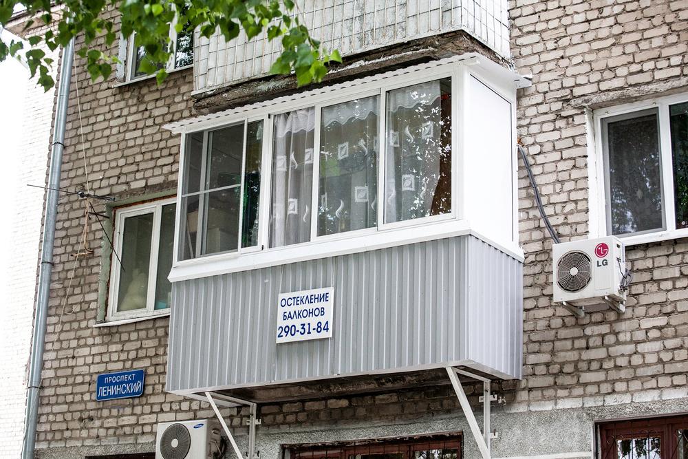Остекление балкона с усилением плиты пола.
